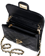 Impulse Quilted Faux Leather Crossbody Clutch - Black view 4