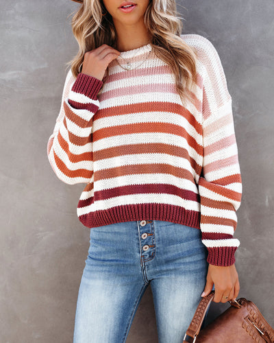 In A Row Cotton Striped Crop Sweater