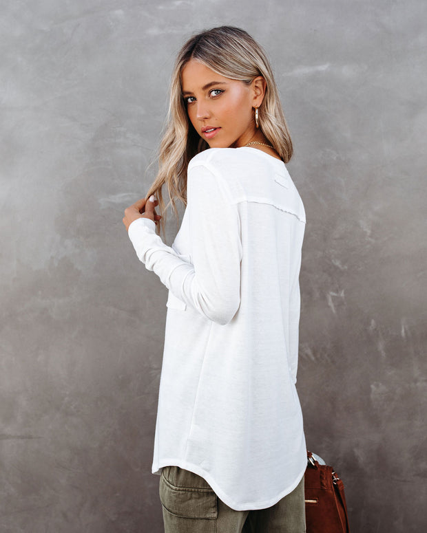 Infinity Cotton Blend Long Sleeve Pocket Top - Ivory view 2