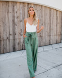 In Good Taste Pocketed Jumpsuit - Sage