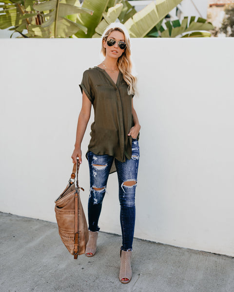 In The City Button Down Top - Olive