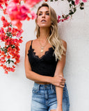 Into The Night Lace Cropped Tank - Black