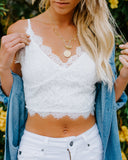 Into The Night Lace Cropped Tank - Ivory - FINAL SALE