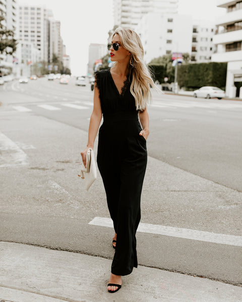 Invincible Pocketed Jumpsuit - Black