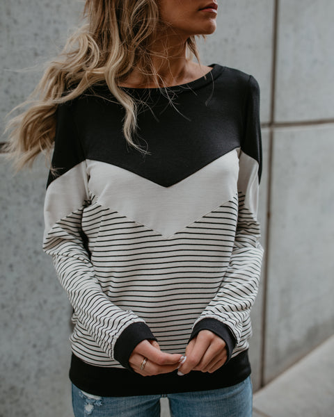 PREORDER - Read All About It Color Block Knit Top
