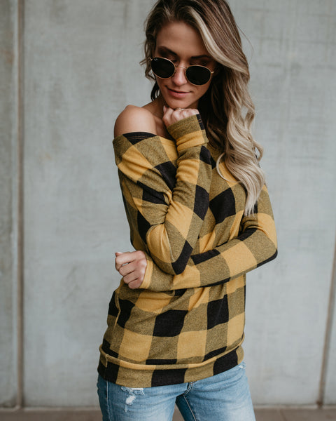 Checked Out Off The Shoulder Buffalo Check Top - Mustard