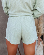 Janet Cotton + Linen Blend Pocketed Knit Shorts - Icy Mint - FINAL SALE