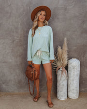 Janet Cotton + Linen Blend Knit Top - Icy Mint