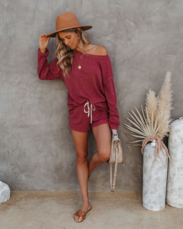Janet Cotton + Linen Blend Pocketed Knit Shorts - Wine - FINAL SALE