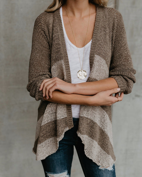 Jayce Striped Knit Cardigan - Olive/Stone