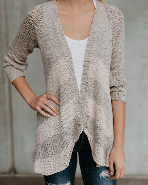 Jayce Striped Knit Cardigan - Taupe/Blush