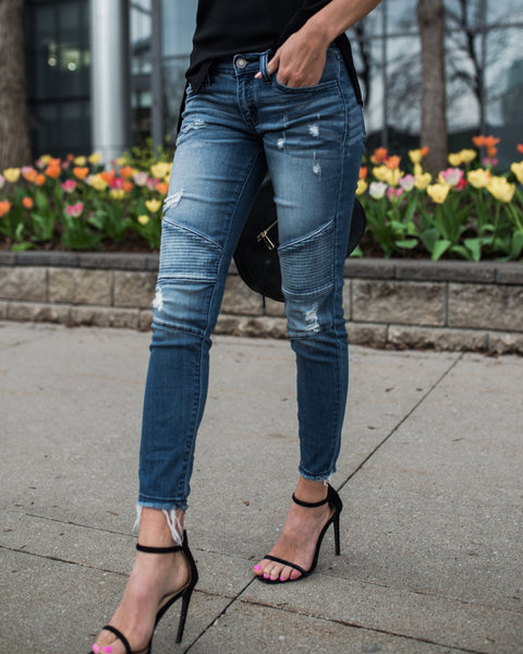 Piped Frayed Denim