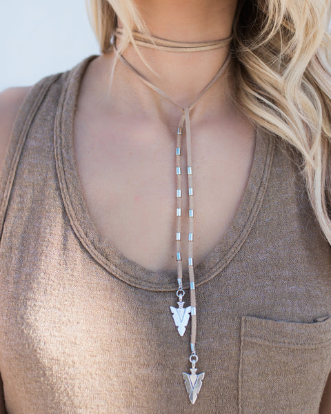 MARRIN COSTELLO - Arrow Wrap Lariat - Tan/Silver