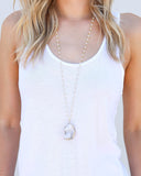 MEGHAN BO DESIGNS - Star Fall Druzy Rosary Necklace - White