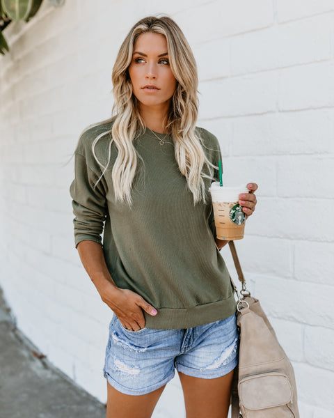 Keeping Cozy Cotton Sweatshirt - Olive