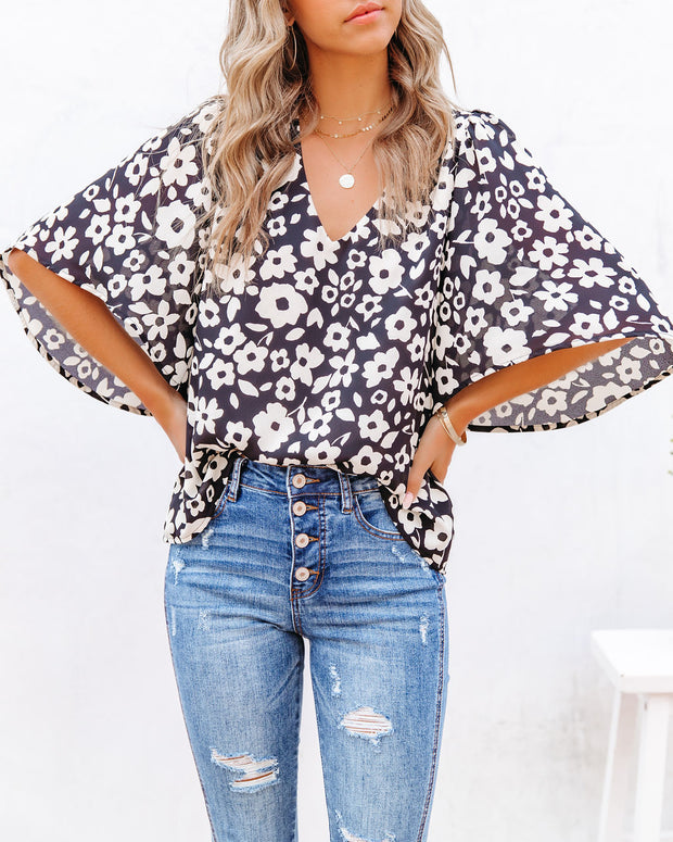 Kalani Floral Bell Sleeve Blouse view 9
