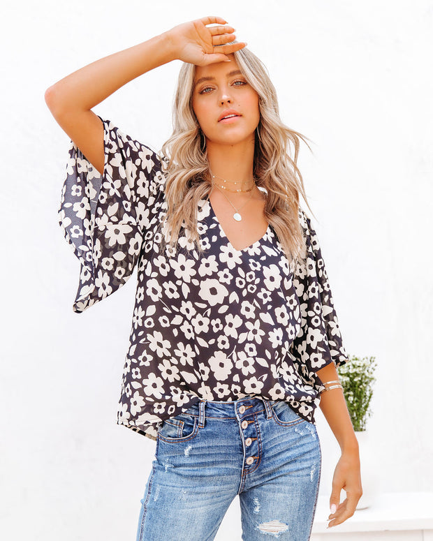 Kalani Floral Bell Sleeve Blouse view 1