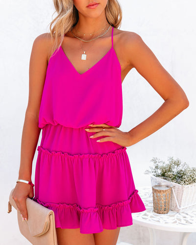 Karty Ruffle Tiered Dress - Fuchsia