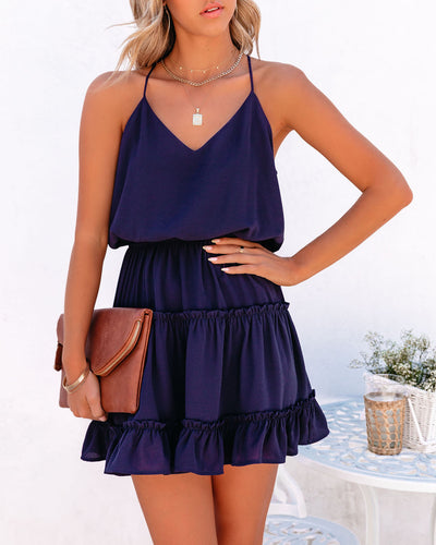 Karty Ruffle Tiered Dress - Navy