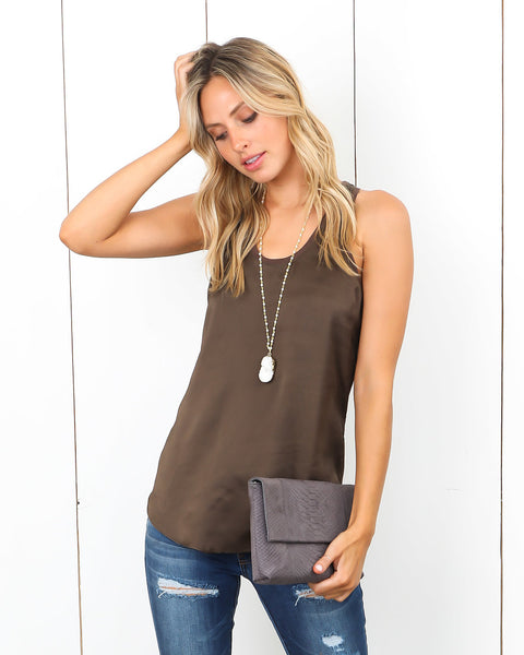 Dylan Satin Tank - Golden Olive