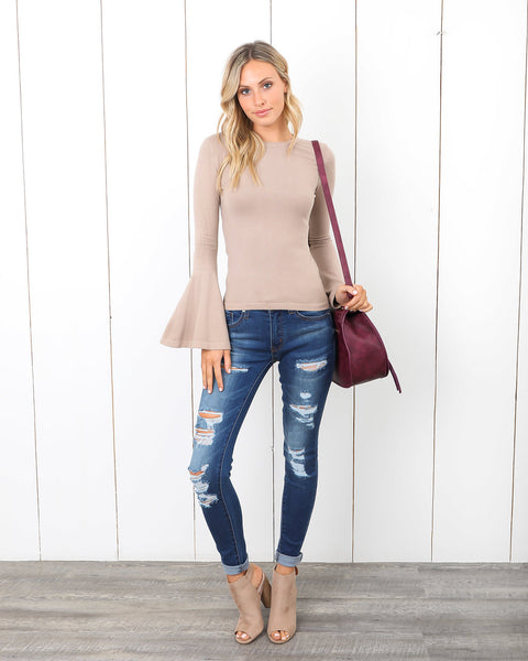 Candice Bell Sleeve Sweater - Mocha - FLASH SALE