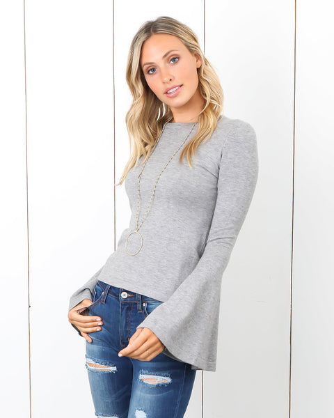 Candice Bell Sleeve Sweater - Heather Grey - FLASH SALE