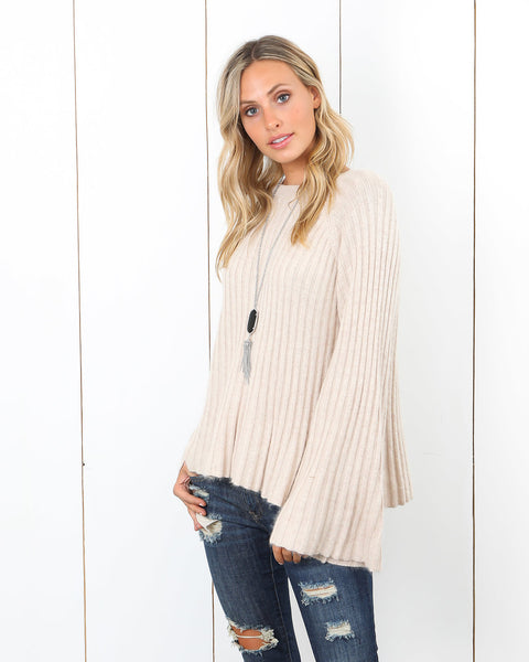 Complete Me Ribbed Sweater - Taupe