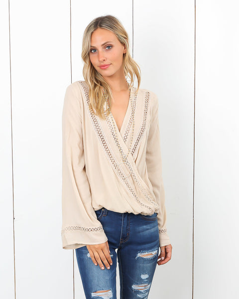Marrakesh Crochet Drape Blouse - Vanilla