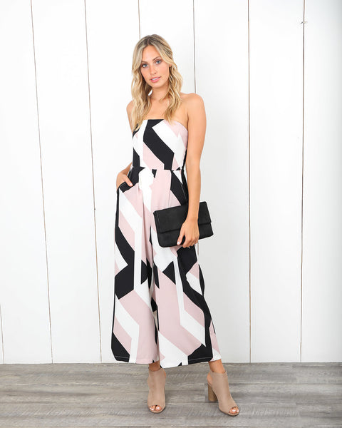 Sophisticated Honey Pocketed Strapless Jumpsuit
