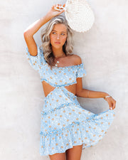 Katya Floral Off The Shoulder Ruffle Cutout Dress view 9
