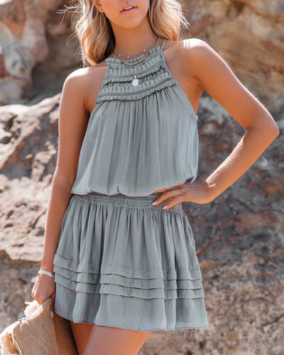 Kayley Satin Smocked Dress - Silver Olive