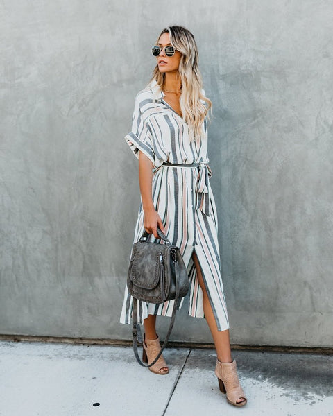 Kerrigan Button Down Pocketed Shirt Dress