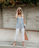 King Harbor Striped Cotton Tank - Blue - FINAL SALE