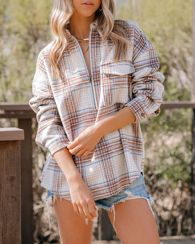 Laurelwood Wool Blend Plaid Half Zip Shirt