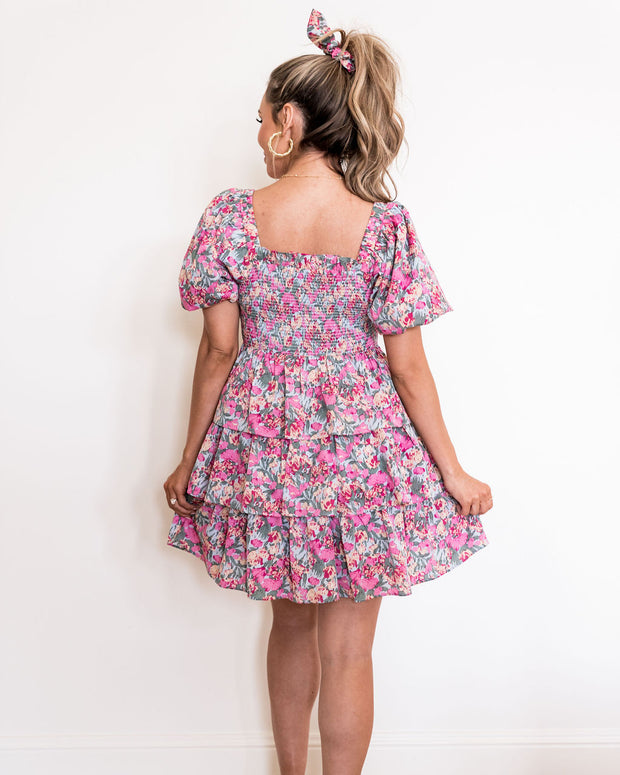 Layton Floral Smocked Puff Sleeve Tiered Dress view 2