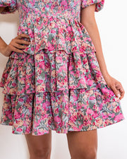 Layton Floral Smocked Puff Sleeve Tiered Dress view 4