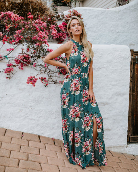Lush Florals Halter Maxi Dress - Sage