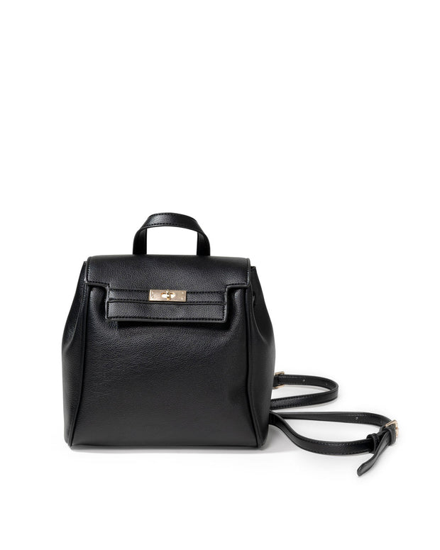 Lainey Faux Leather Backpack - Black view 3