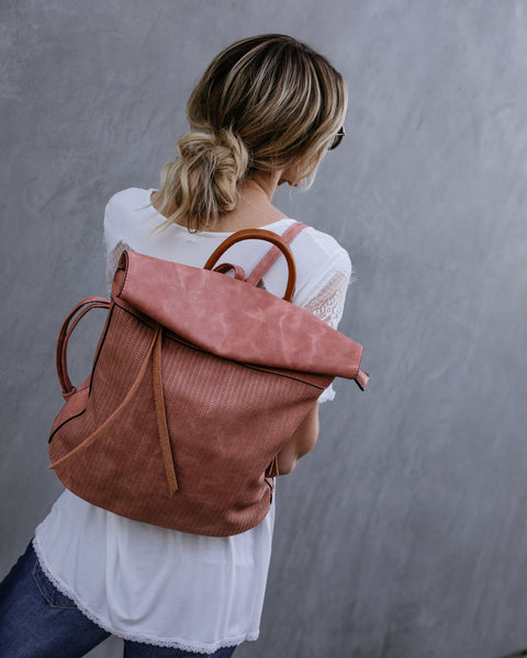 Globetrotter Faux Leather Backpack - Blush