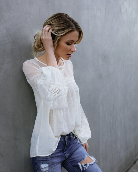Thoreau Lace Peasant Top - Natural