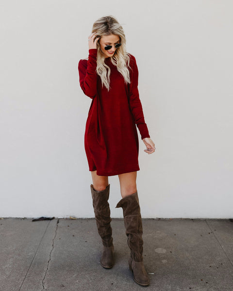 Live In This Pocketed Knit Dress - Burgundy