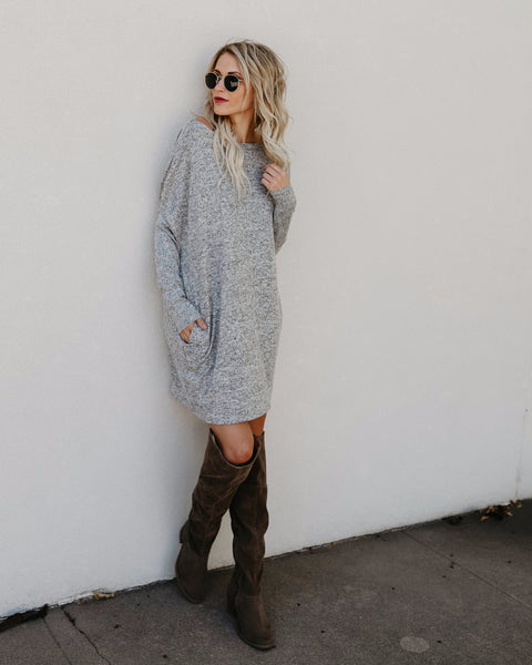 Live In This Pocketed Knit Dress - Heather Grey
