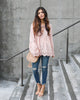 Monarch Bell Sleeve Lace Up Top - Blush
