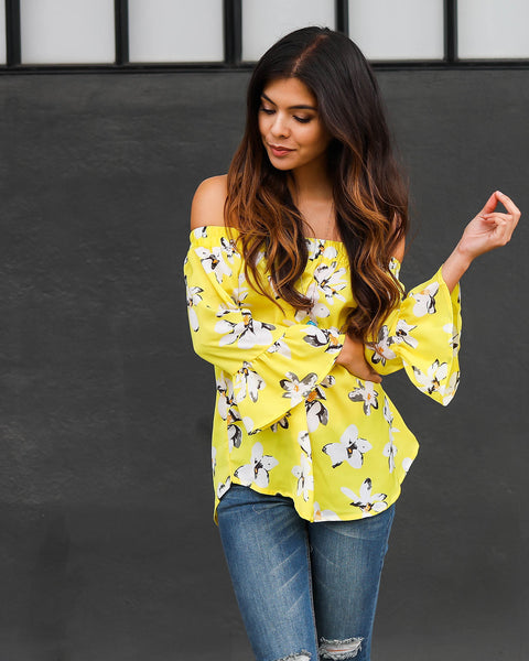 Sunny Side Off The Shoulder Bell Sleeve Top