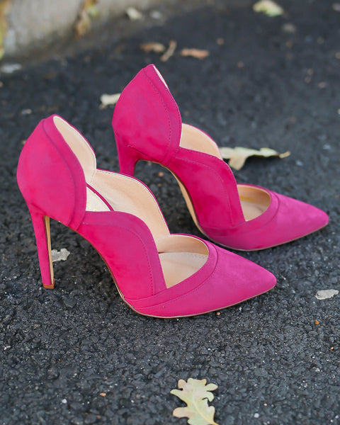 Brooklyn Pointed Scalloped Heel - Magenta - FINAL SALE