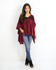 Mellany Contrast Plaid Ruffle Top - Burgundy - FINAL SALE