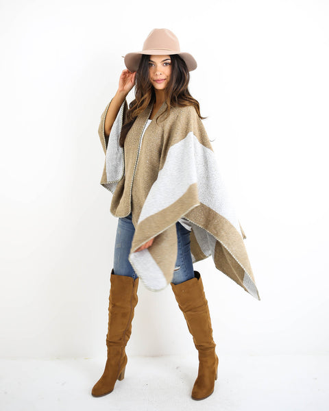Wild Wind Striped Poncho - Taupe - FINAL SALE