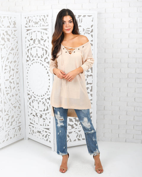 Kimber Lace Up Knit