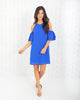 Pretty & Free Cold Shoulder Dress - Capri Blue