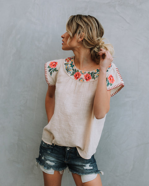 Lena Embroidered Cotton Top